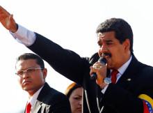 Nicolás Maduro speaks to supporters in Caracas